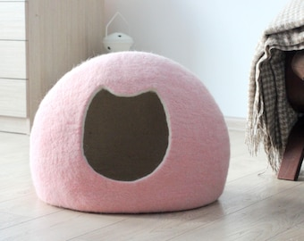 Cat bed cave house, cat bed felt wool, cat cave, pet bed, pet house, pet cave, pale pink cat bed, gift for cat, cat nap, cocoon, bedding