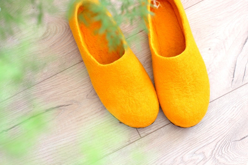 632b5145c8534 Felt home slippers. Wool house shoes. Comfy felt slippers yellow golden  wool. Mothers day gift.