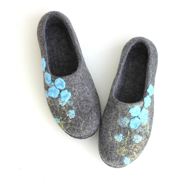 37c05363c2b3a Womens felted slippers in grey with blue flowers. Warm winter house shoes.  Valentines gift love.