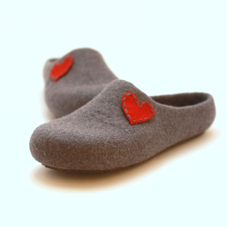 2347f7586d39b Valentines gift love wool slippers. Warm woman slippers with heart. Felted  house shoes.