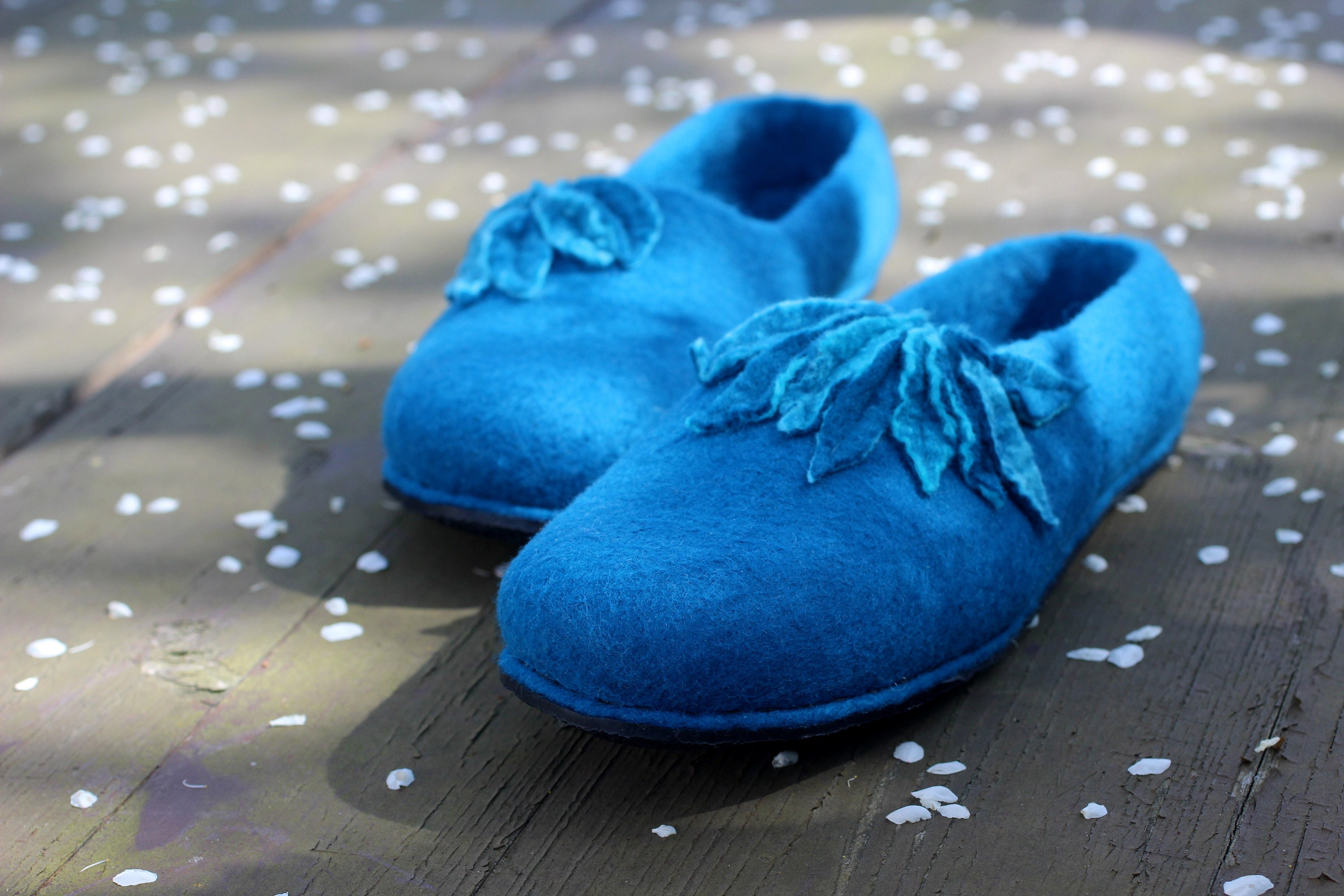 4d987de2e89d8 Woman house shoes, warm slippers from merino wool. Teal blue felted  slippers. Warm slippers.