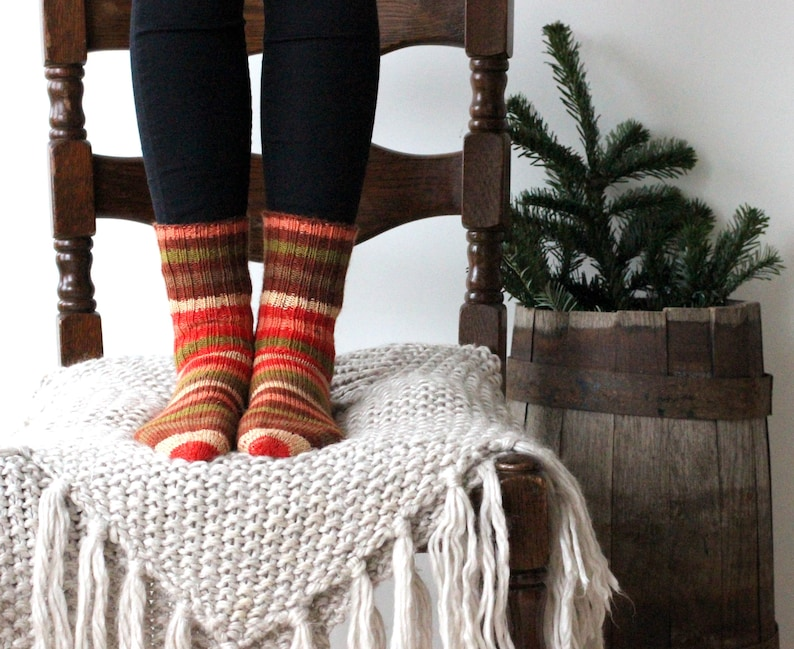 Striped wool socks. Ready to ship size M wool socks. Knitted image 0