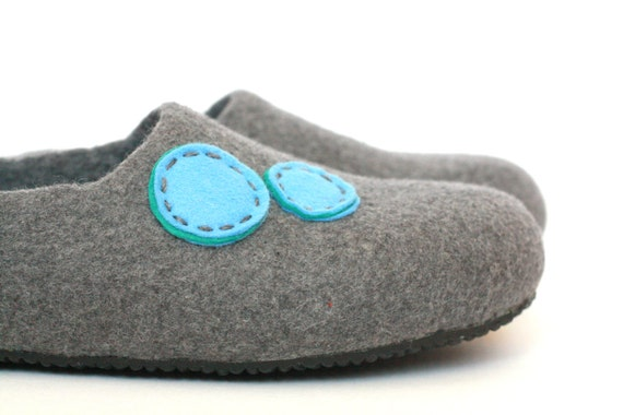 Women blue gift house order wool and wool slippers gift slippers for slippers clogs her to women day felted made Mothers Grey OrwCqOx0