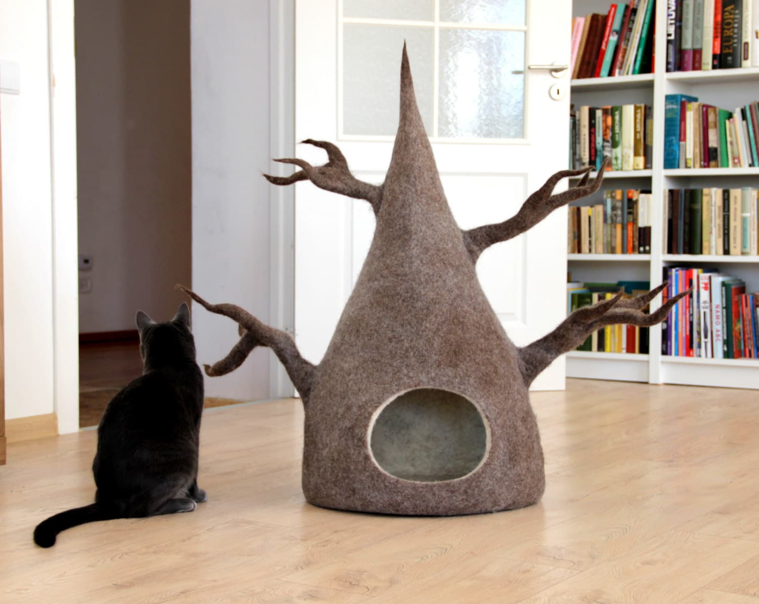 Unique gift for pets cat bed cave from natural wool felt cat tree original cat bed