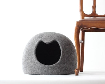 Cat bed - cat cave - cat house - wool cat bed - gray felted cat bed - made to order - unique gift - gift for cat - pet bed