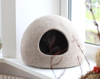 Pet bed, natural wool cat bed cave, small dog bed.
