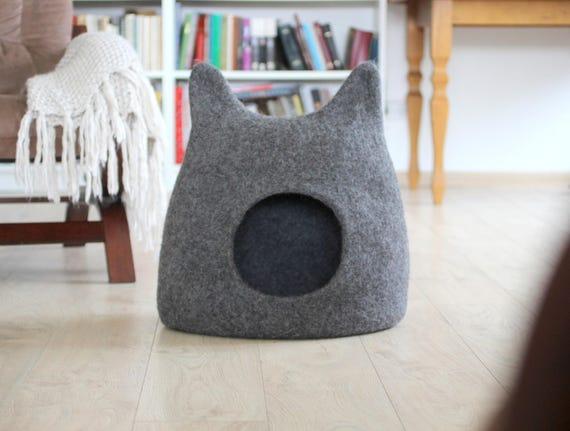 Katze Bett Hohle Katzenhaus Umweltfreundliche Handarbeit Etsy