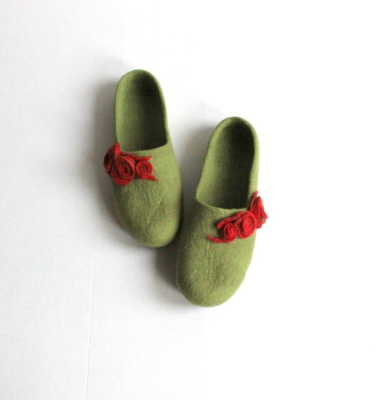 04c6d2b2f568d Women home shoes in olive green with red roses. Felted wool women slippers.  Valentines gift love.