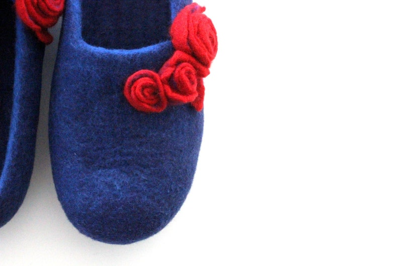 e96205c129a2b Felted wool slippers women Christmas gift. Christmas unique gift handmade  Women home shoes from blue merino wool with red roses