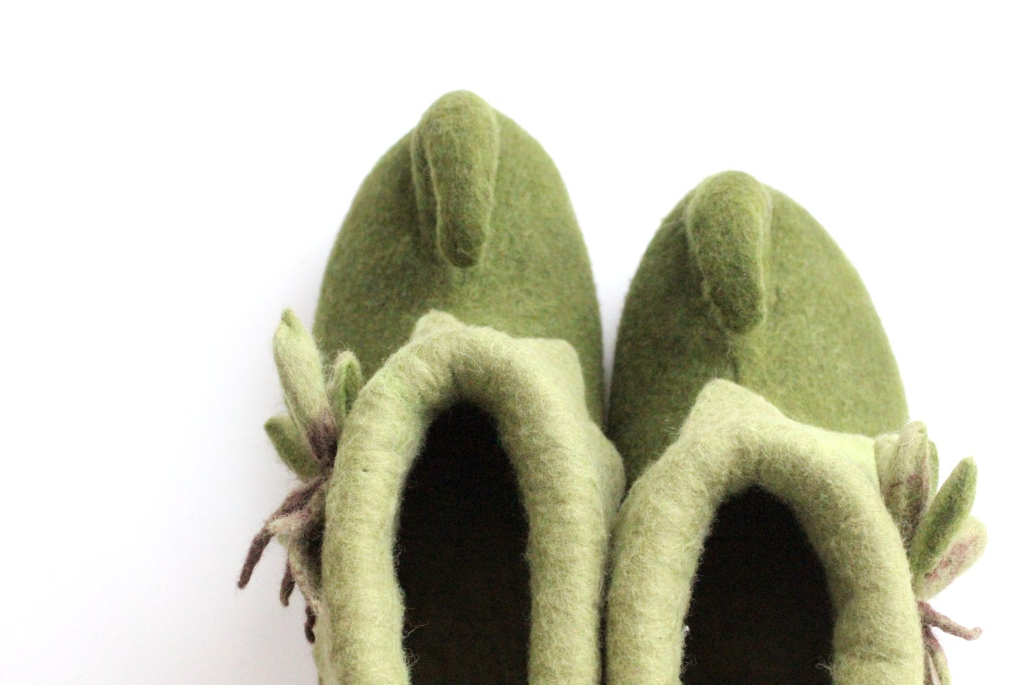 Felted elf shoes - fairy felted boots - green fairy - shoes - felted slippers - warm house shoes - gift for her - made to order 5a672b