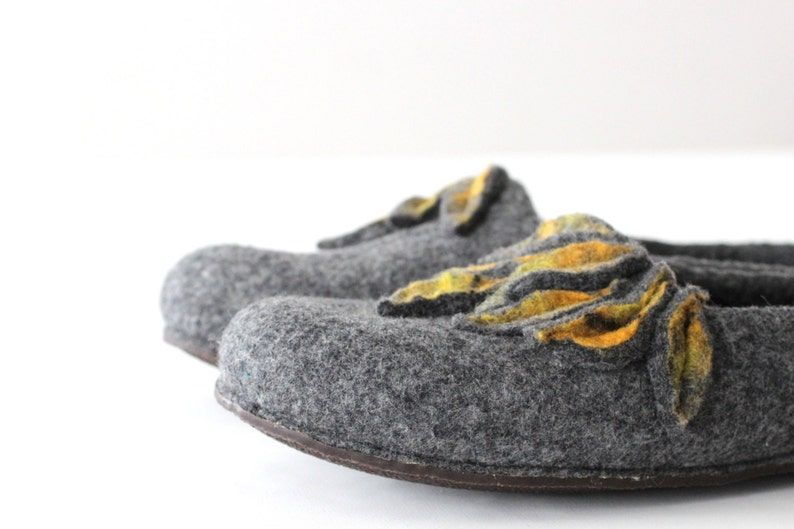 9691f8033c757 Felted wool slippers - women house shoes from gray merino wool with yellow  mustard leaves - Valentines gift love