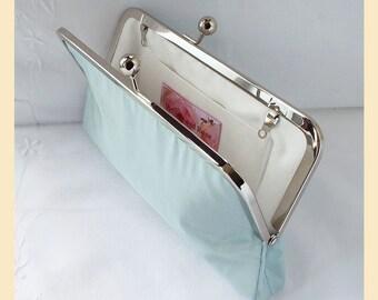 Wedding clutch, blue silk purse, handmade bridal purse, duck egg blue bridesmaid clutch, bridesmaid purse, personalisation