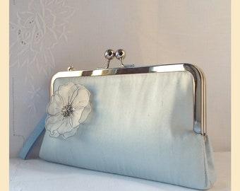 Wedding clutch, blue silk floral wristlet purse, diamante trim bridal purse, bridesmaids clutch, personalised handbag, romantic wedding
