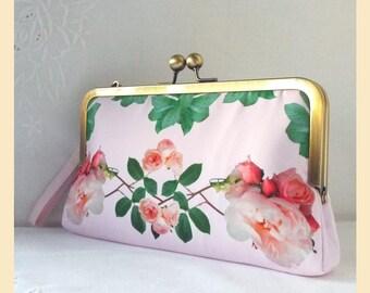 Wedding clutch bag, pink wristlet purse, roses print bridal purse, bridesmaid clutch, pink handbag with personalisation