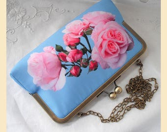 Clutch bag, blue purse with shoulder chain, pink roses on blue print, handmade bridesmaid gift, evening bag with personalisation