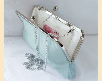 Wedding clutch bag, blue silk bag, shoulder chain, silk bridal purse, bridesmaids clutch, blue bridesmaids bag, traditional weddings