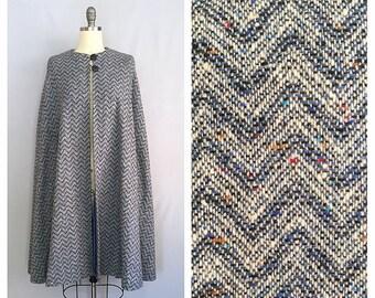 Herringbone cape | 1960s steel blue cape | 60s pure wool cape | s-m-l