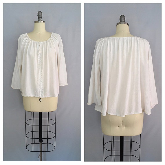 vintage peasant blouse | cotton gauze blouse | 197