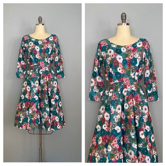 vintage 1950s ROSE GARDEN dress | 50s floral print