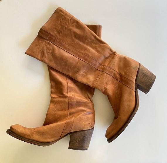 vintage caramel boots | 1970s long leather boots |