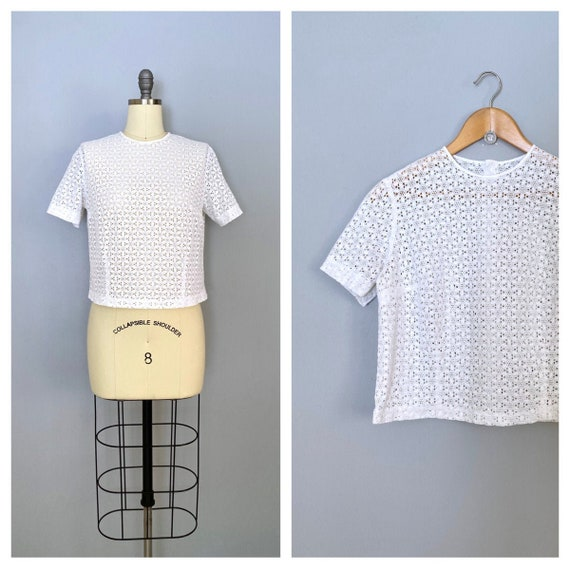 vintage Broderie Anglaise blouse | 1950s eyelet la
