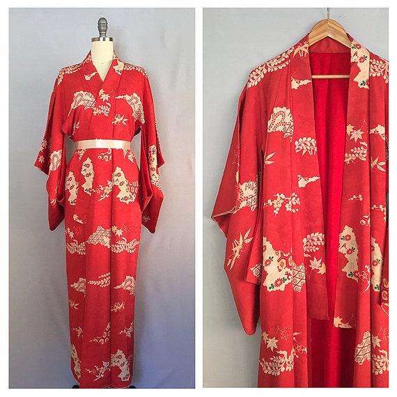 924e6e215f Ankōshoku silk kimono 1940s silk floral kimono vintage 40s
