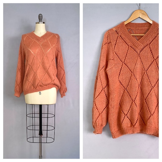 vintage CORAL sweater   1980s mohair hand knit jum