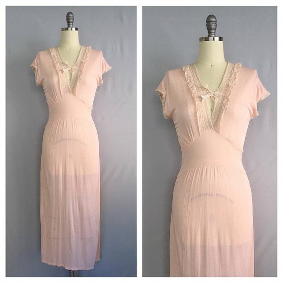 ccc3ed0c17781 Blush pink slip 1930s silk boudoir lingerie 30s peach pink | Etsy