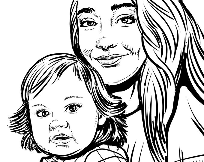 Featured listing image: Custom Portrait Drawing from Photo, Digital Ink Sketch, Couples, Wedding Portrait, Pets, Family Portrait, Custom Coloring Book Pages