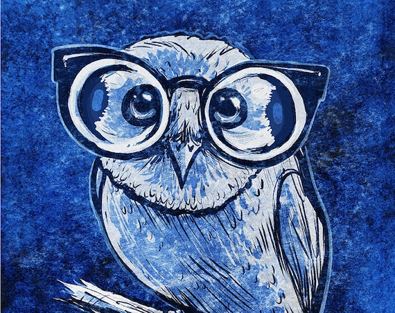 "Cute cool colored Owl with Glasses art print on premium matte paper with archival ink // gifts for her // owl lovers // ""Owl with Glasses"""