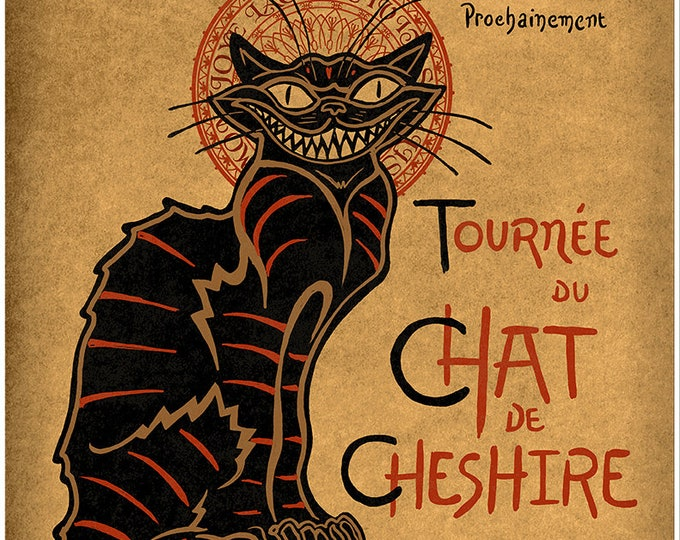 """Featured listing image: Chat Noir mashup art with Cheshire Cat on premium matte paper with archival ink // Alice in Wonderland // Art print // """"Cheshire Cat"""""""