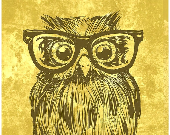 "Cute warm colored Owl with Glasses art print on premium matte paper with archival ink // gifts for her // owl lovers // ""Owl with Glasses"""