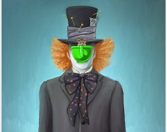 "Parody ""Son of Hatter"" art print on premium matte paper with archival ink // Rene Magritte // Son of Man // Mad Hatter // Mashup"