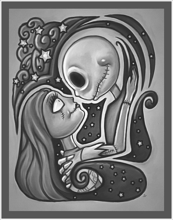 "Romantic art print of Jack and Sally on premium matte paper with archival ink // Jack and Sally // For Her // ""Nightmare Before Christmas"""