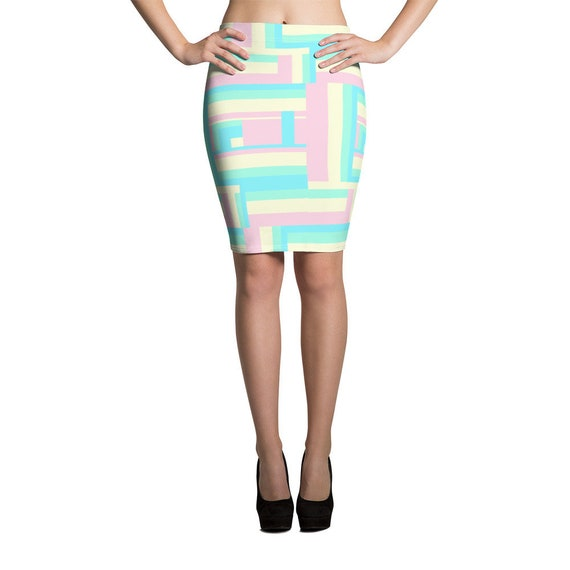 Soft Color Geometric Shape Pencil Skirt