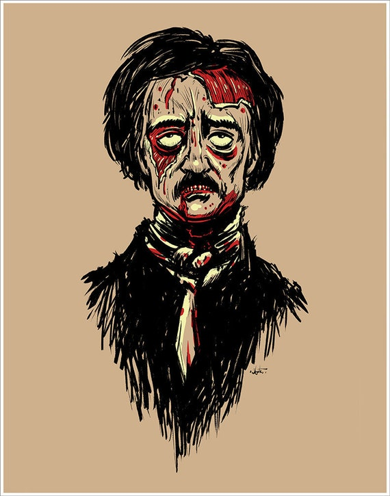 "Edgar Allen Poe ""Zombie Poe"" art print on premium matte paper with archival ink // POE // zombie // ink // Mashup"