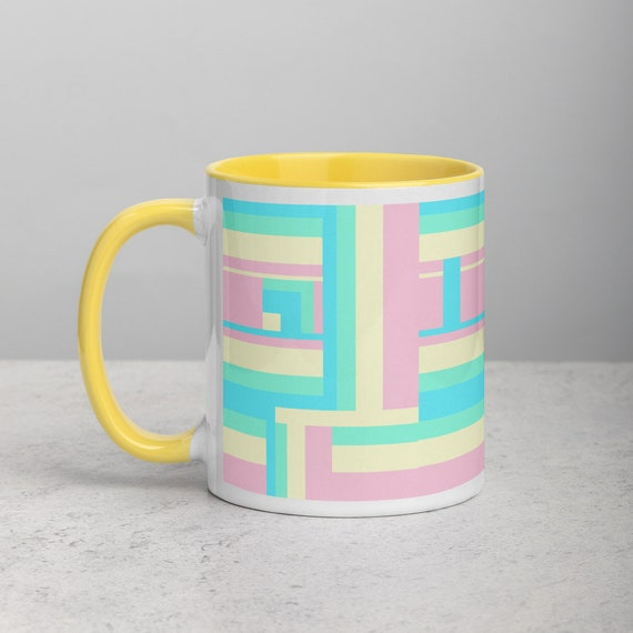 Soft Color Geometric Shape Styled Mug with Color Inside