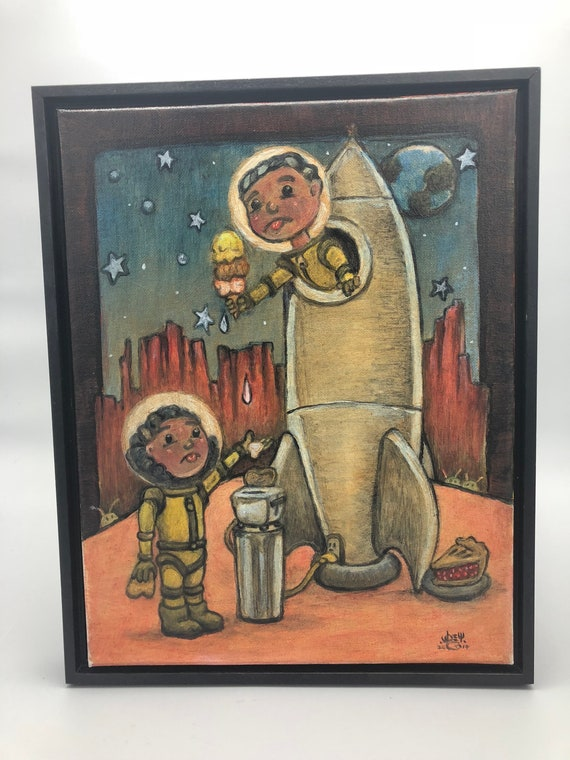 """Pop Surreal Oil Painting """"Cant Have It"""" 11x14 inches on Canvas with floater frame - Original Art - Pop Surrealism - Lowbrow - Oil Painting"""