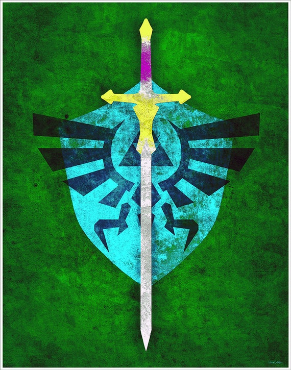 "Zelda ""Twilight Sword"" art print on premium matte paper with archival ink // Twilight Princess Link Master Sword // Link // fan art"