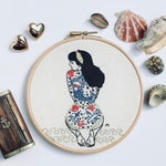 Modern Embroidery Kit, Diy kit, Hand embroidery - Summer Tattooed Lady - Hoop art, Modern hand embroidery, craft kit, beginner/intermediate