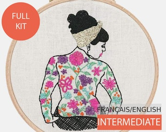 Modern Embroidery Kit, DIY kit, Hand embroidery pattern - Tutorial in English or in French. Spring Tattooed Lady, intermediate level