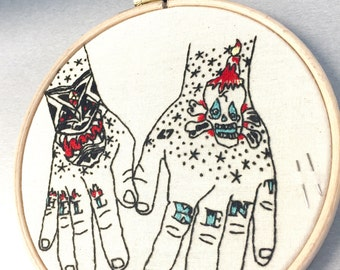"""EMBROIDERY KIT : Tattooed Hands Embroidery Kit """"Hands of Bearer"""""""