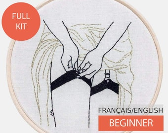Modern Embroidery Kit, DIY kit, Hand embroidery pattern - Tutorial in English or in French. She Pulls her Stockings on. Beginner