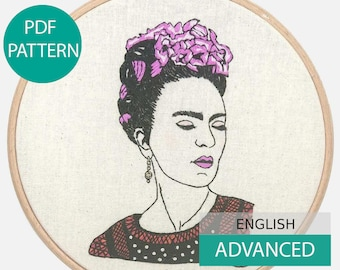 Modern Embroidery Pattern & Tutorial (PDF file, in English), instant download. Frida, you are magic ! Hand embroidery. Advanced level.