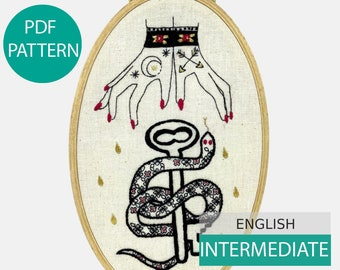 Modern Embroidery Pattern & Tutorial (PDF file, English), instant download. Raining Tears of Gold. Hand embroidery. Intermediate