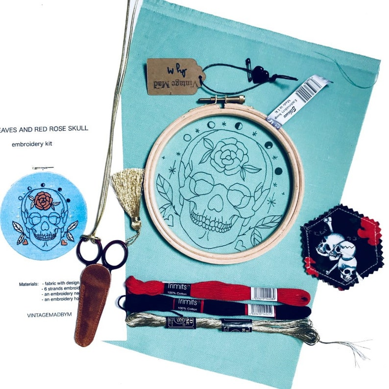 Red rose Skull Gold leaves full needlework paraphernalia with gorgeous scissors and a needle minder Modern EMBROIDERY KIT Gift Box