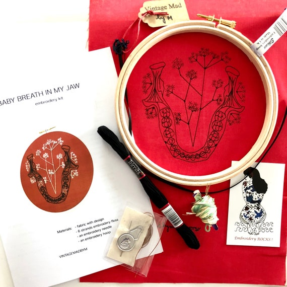 Gift box of 3 Modern EMBROIDERY KITS Jaw with Baby Breath Anatomy and Botanic Triptych Skull with Rose Rib Cage with Water lily