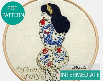 Modern Embroidery Pattern & Tutorial (PDF file, in English), instant download. SummerTattooed Lady, Hand embroidery intermediate level
