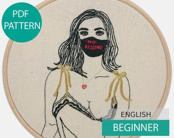 Modern Embroidery Pattern & Tutorial (PDF file, in English), instant download. No Kissing, Hand embroidery. Beginner