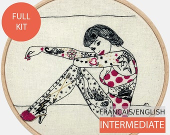 Modern Embroidery Kit, DIY kit, Hand embroidery pattern - Tutorial in English or in French. Longing for the Sea, Tattooed Lady. Intermediate